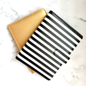 Nikki Kathryn Gold and Black & White striped A5 Binders
