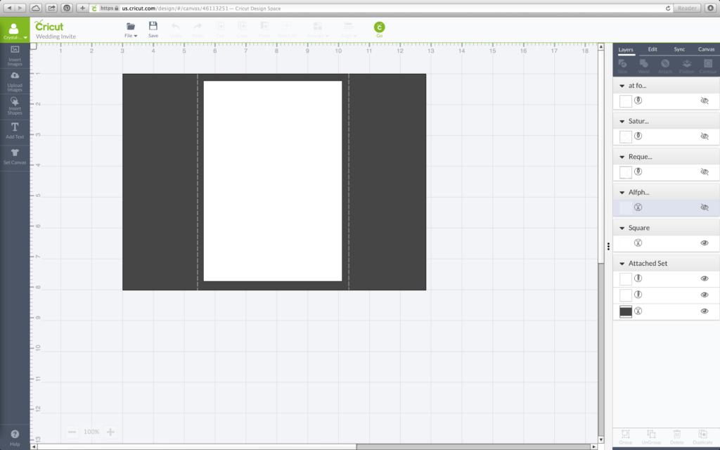 Cricut Design Space Cutting Card Size